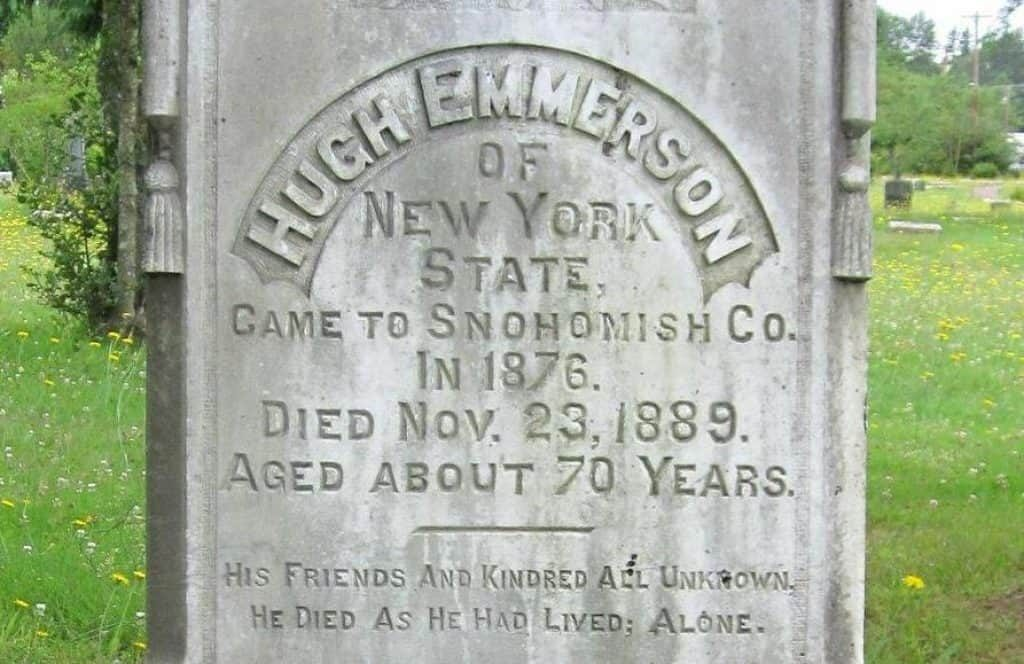 Headstone of Hugh Emmerson.