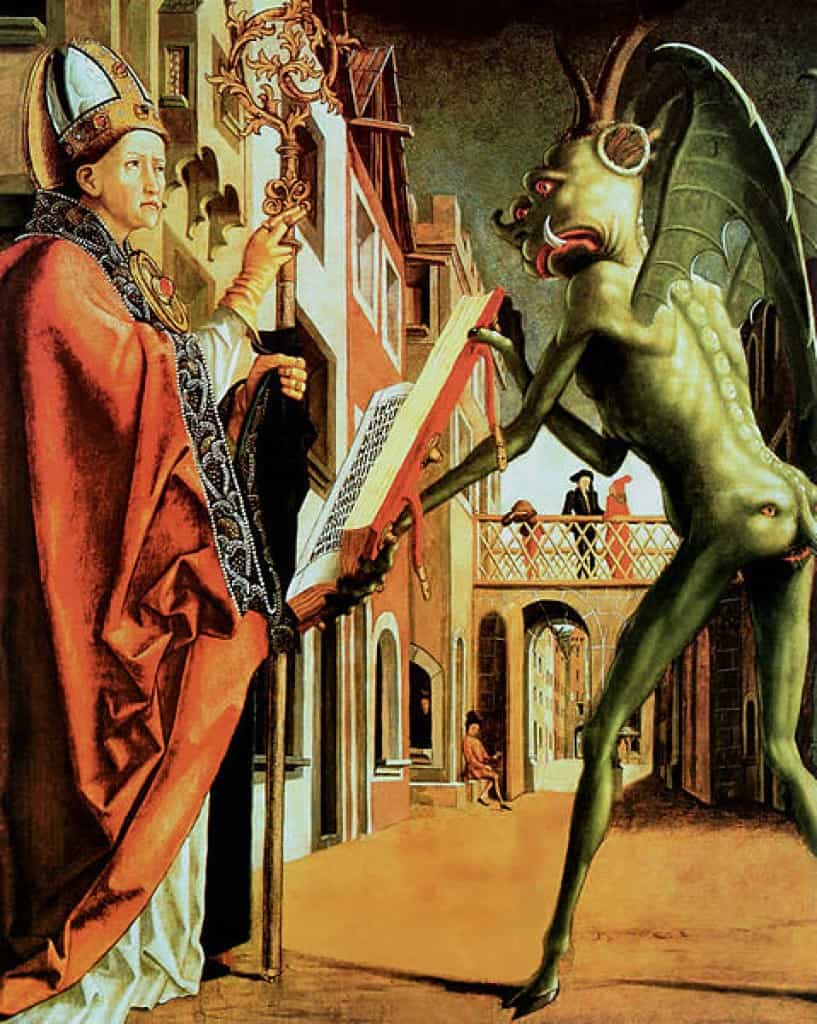 Saint Wolfgang and the Devil by Michael Pacher.