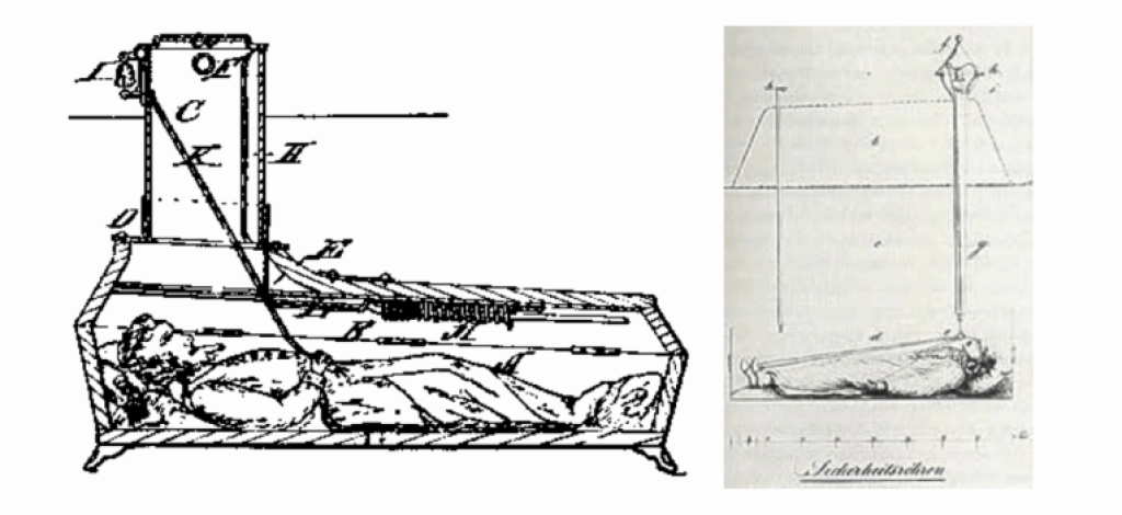 Two different early designs for safety coffins with bells. Public domain.