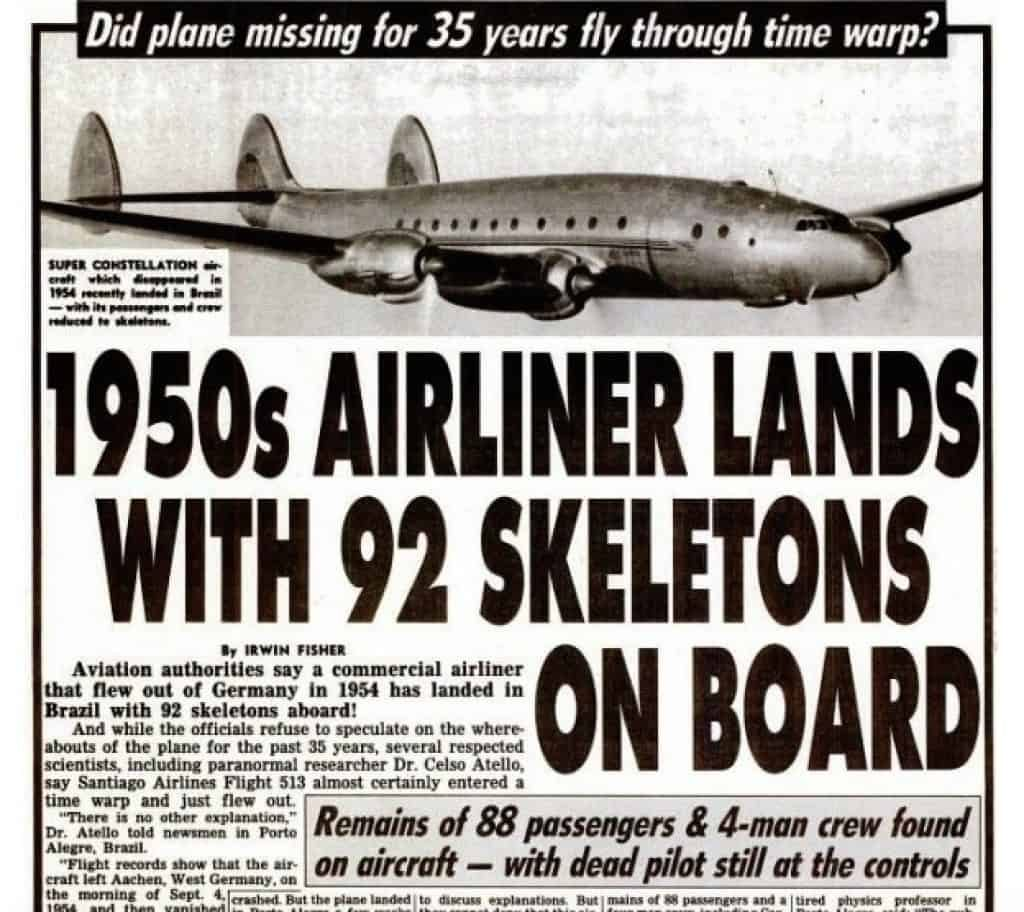 The Weekly World News published this tabloid story about Santiago Flight 513 in 1989. Google Book