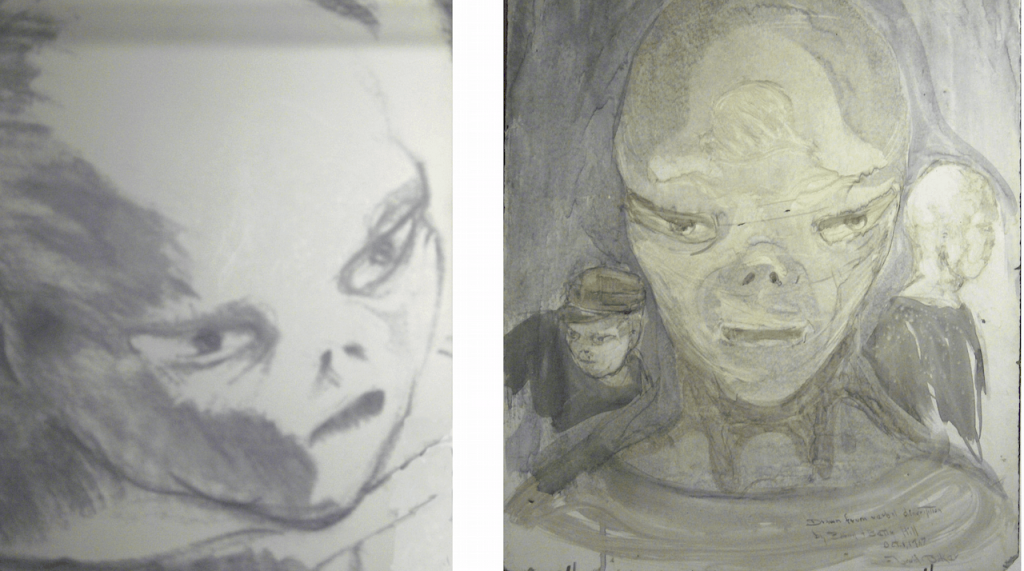 Sketches of the aliens based on the memories of Betty and Barney Hill.
