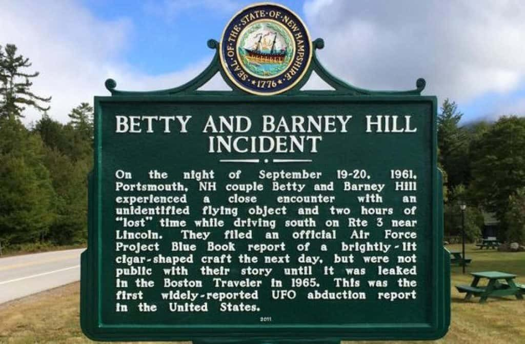 Historical marker in New Hampshire commemorating the 50th anniversary of Betty and Barney Hill's encounter.