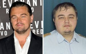 Actor Leonard DiCaprio and his Doppelgänger from Russia. Photo: AP
