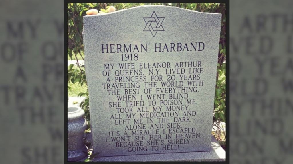 One of the most unusual grave markers is that of Herman Harband.