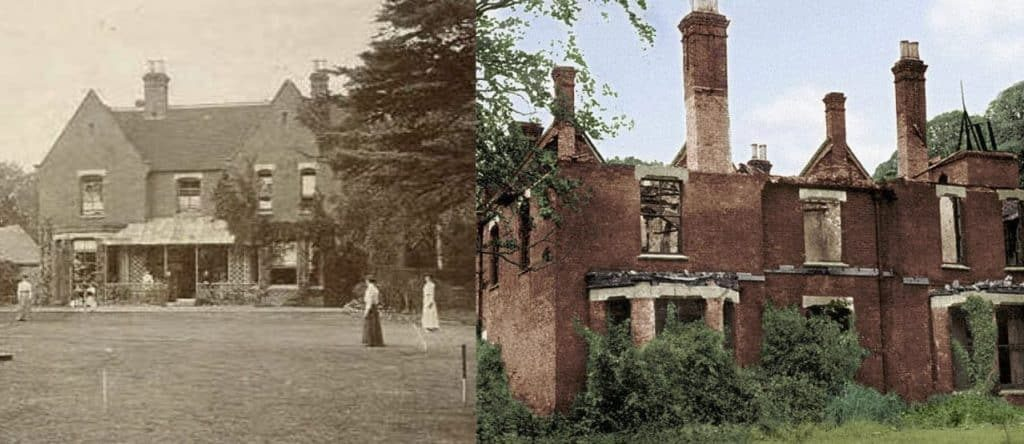 The Borley Rectory in 1892 (L) and later ruins (R).