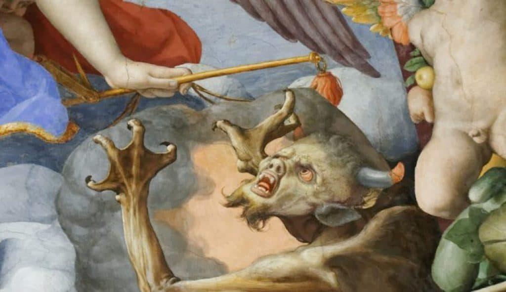 Satan fighting archangel Michael