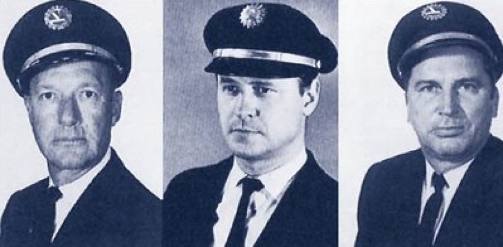 The flight crew of 401. From L to R, Captain Robert Albin Loft, pilot Albert John Stockstill, and flight engineer Donald Louis Repo. Source: Google Sites.