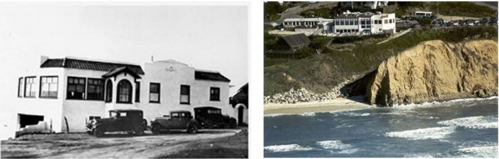The home of The Blue Lady ghost. Left: Frank's Place during Prohibition. Right: Moss Beach Distillery on the cliffs.