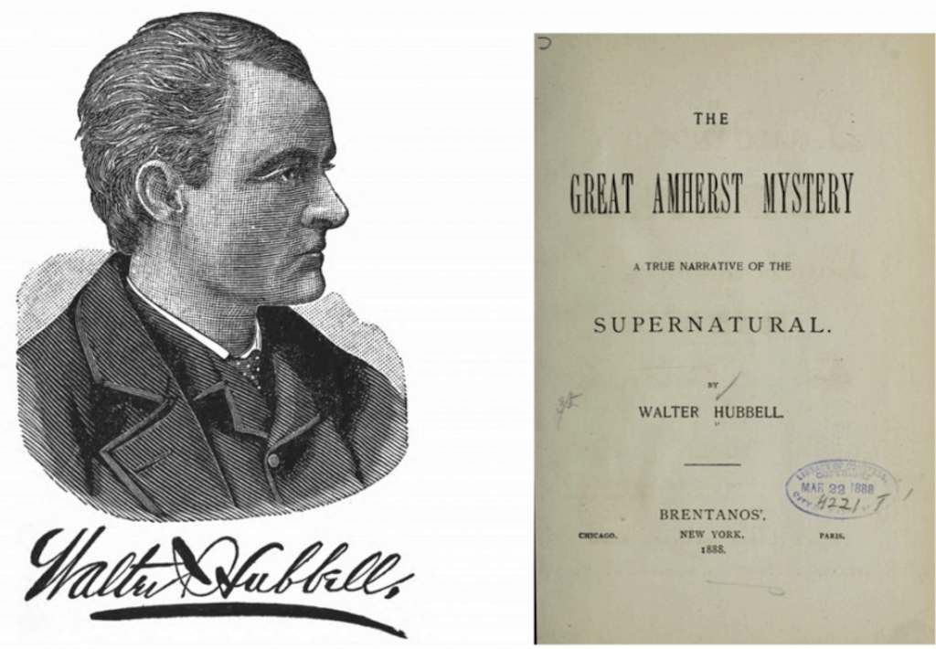 Walter Hubbell and his publication about the Amherst Mystery, 1888. Public domain.