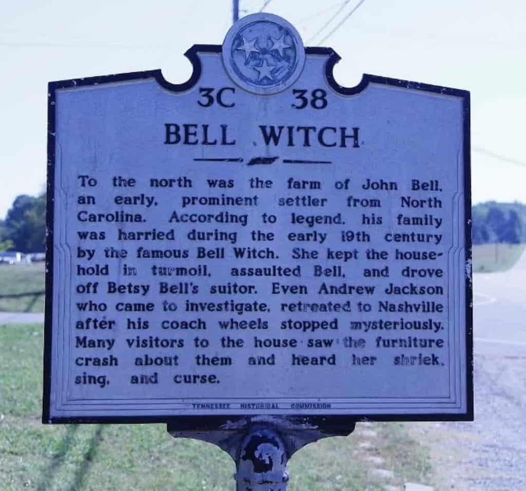 A modern marker near the Bell Witch site.