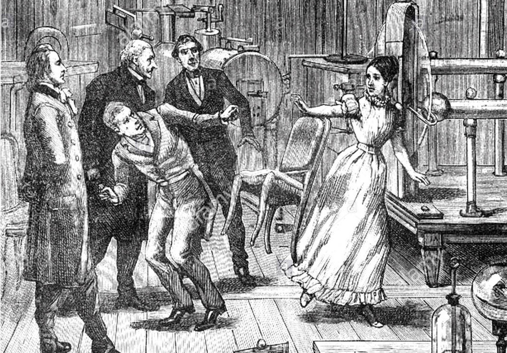 An engraving showing the poltergeist activity of Angelique Cotton.