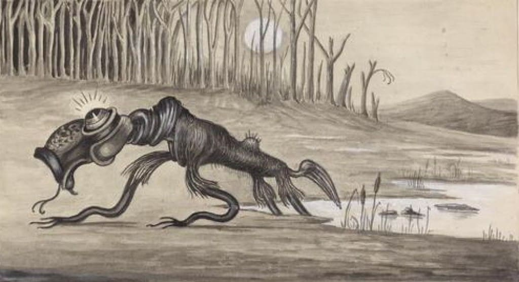 An unknown artist depiction of the Bunyip (1935).