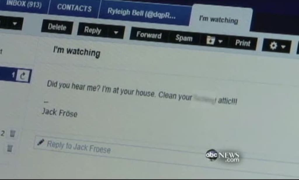 Tim Art displays Froese's email. ABC video image capture.