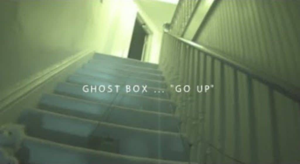 "A screenshot of the Sallie House video. The words ""Go up"" plays through the Ghost Box."
