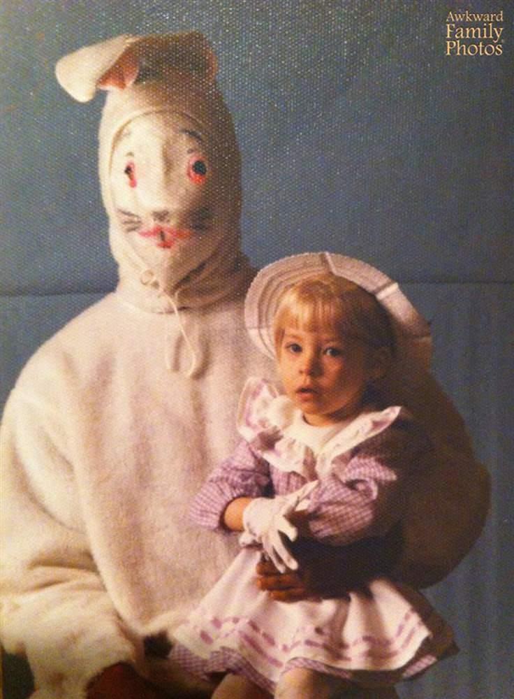 creepy easter bunny with girl