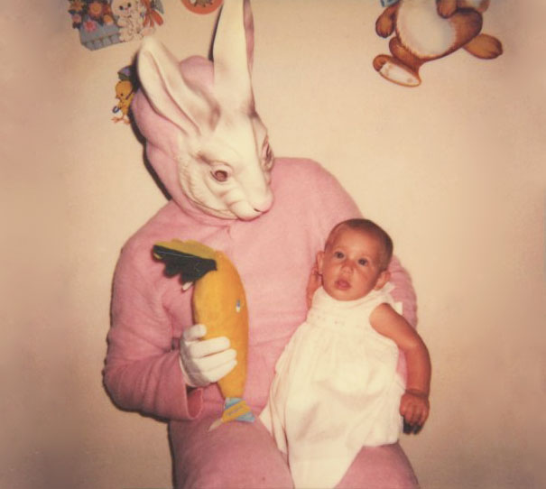 creepy easter bunny with baby