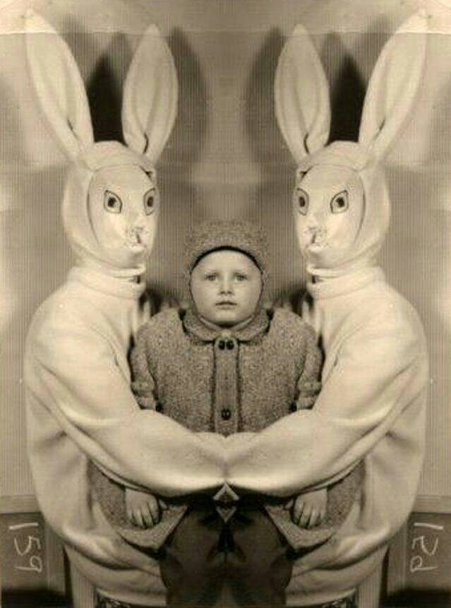 creepy easter bunny twins