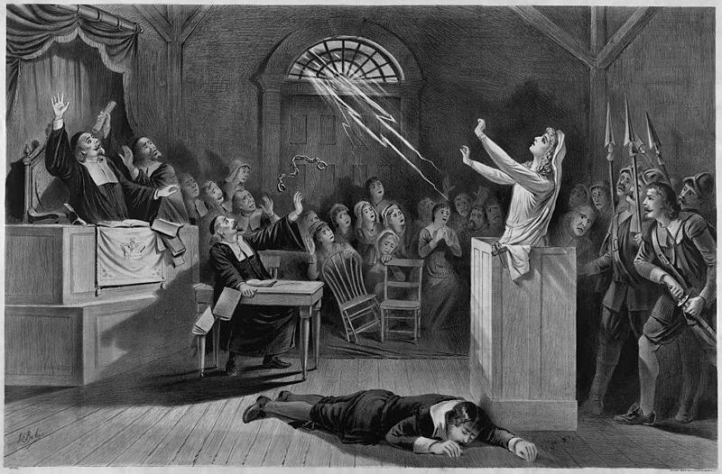 An 1892 lithograph of the Salem Witch Trials. Library of Congress